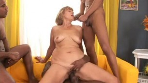 Mature lady gets gangbanged by hung studs