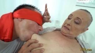 Horny granny having fun with some boy