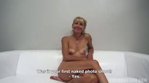 Iveta 9520 mature blonde sucking cock and fucking at casting