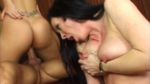 Rayveness and her step-daughter sharing a big dick