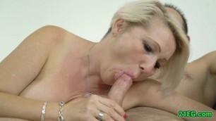 Old Blonde Cherishing a Fresh Cock