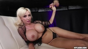 Jizz on her Boobs - Big Boob MILF Milked his Cock
