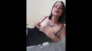Goth MILF Smoking Multiples while Playing with her Tits